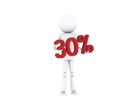 White human holding the 30 percent. Stock Photo - 16196893