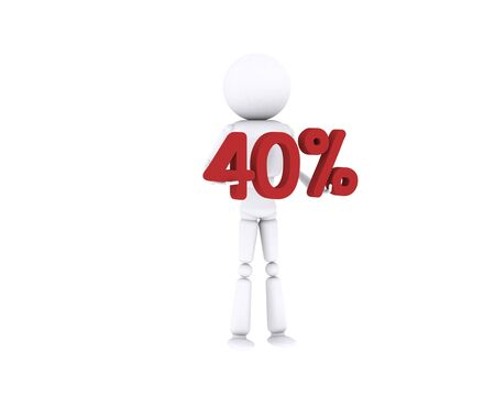 White human holding the 40 percent. Stock Photo - 16196889