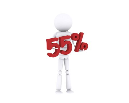 White human holding the 55 percent. Stock Photo - 16196897