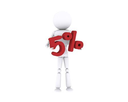 White human holding the 5 percent. Stock Photo - 16196892