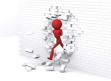 Person runs through white wall.
