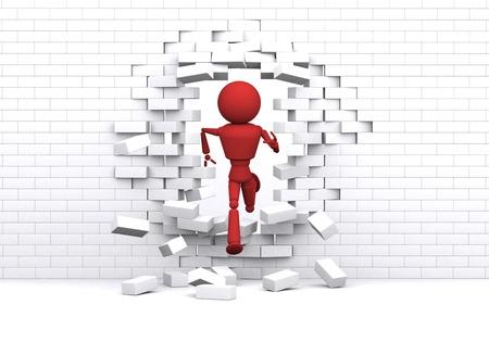 overcome a challenge: Person runs through white wall.