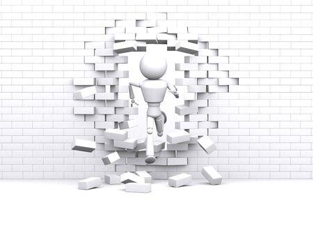 Personne traverse un mur blanc. Banque d'images