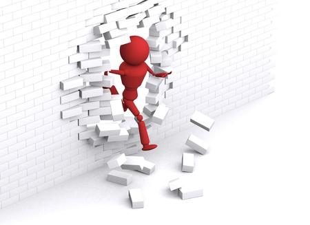 Persoon loopt door witte muur. Stockfoto