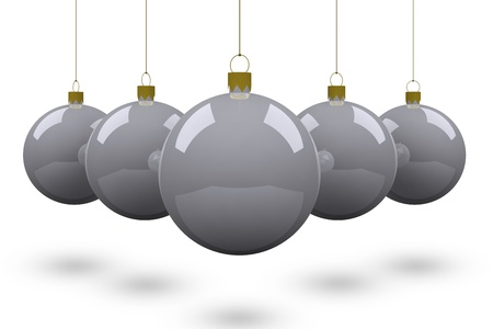 silver balls: Christmas ball isolated on white background. Stock Photo