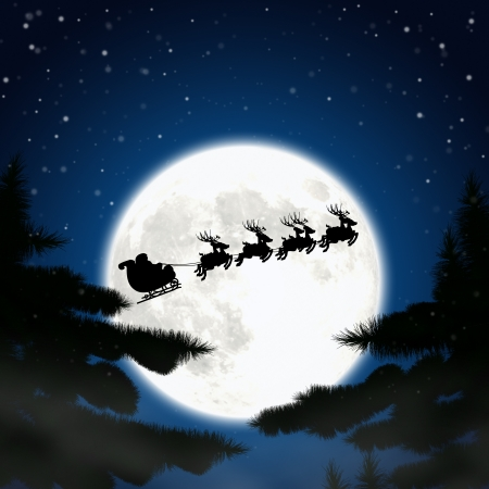 sledge: Moon santa claus and reindeer in the window. Stock Photo