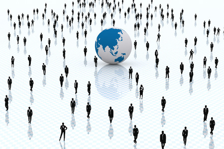 manos trabajo: 3D. Concepto sobre el negocio y el mundo globalizado.