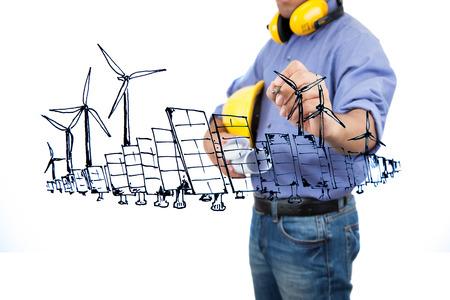 Engineer drawing renewable energy project.
