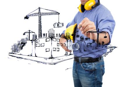 Architekt Skizzieren eines Bauvorhabens.