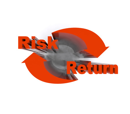 Risk and return symbol isolated on the white. Reklamní fotografie
