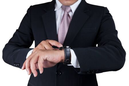 Businessman with wrist watch isolated on white.