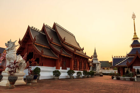 Ban Den Temple with evening light in northern of thailand photo
