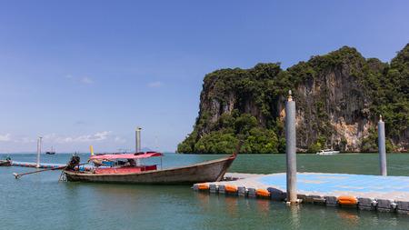 railay: long boat on railay beach in Krabi, Thailand