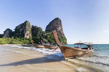 railay: long tail boat on railay beach in Krabi, Thailand