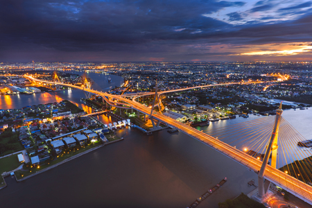 Bhumibol Suspension Bridge in the twilight night scene Stock Photo