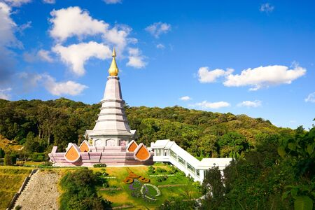 phon: Landscape of pagoda on the top of Inthanon mountain, Chiang Mai, Thailand.
