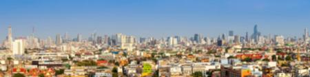 blurred panorama cityscape of Bangkok city skyline , panoramic landscape  Thailand
