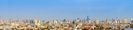 panorama cityscape of Bangkok city skyline , panoramic landscape  Thailand