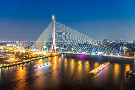 night cityscape   bridge of bangkok city , landscape  Thailand Stock Photo