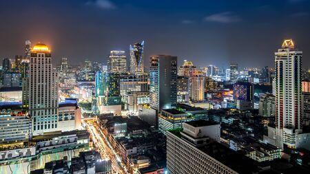 Bangkok city - Aerial view of Bangkok city downtown cityscape urban skyline at night ,landscape Thailand