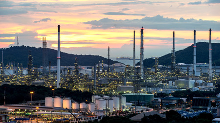 Beautiful sunset  petrochemical oil refinery factory plant cityscape of Chonburi province at night  , landscape Thailand Stock Photo