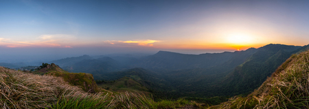 panoramic landscape beautiful mountain on sunset background and nature mist on forest , panorama Thailand Stock Photo