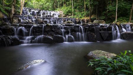 Khao Sam Lan waterfall  at Khao Sam Lan  National Park Saraburi povince , waterfall of Thailand Stock Photo