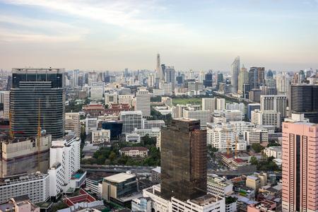 Bangkok City - Aerial view  Bangkok city urban downtown skyline of Thailand , Cityscape Thailand Stock Photo