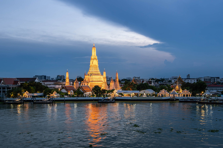 beautiful sunset wat arun temple chao phraya river, landscape Bangkok Thailand Stock Photo