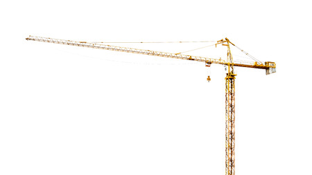 real high yellow crane tower isolate on white background Stock Photo