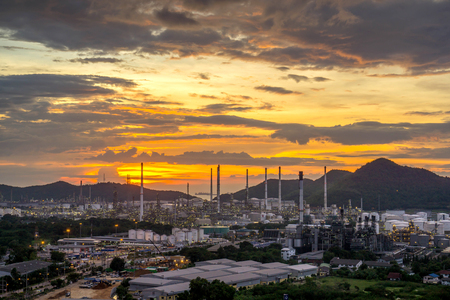 Beautiful sunset  petrochemical oil refinery factory plant cityscape of Chonburi province at night on 2017 , landscape Thailand Stock Photo