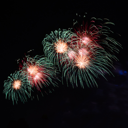 beautiful fireworks on black background , abstract firework full color isolated Stock Photo