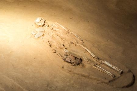 indigenous medicine: grave burial skeleton human bones Stock Photo