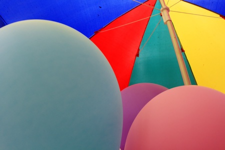 rainbow umbrella in the market