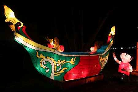 Traditional Thai boat Amazing Lantern  @ Hat Yai Songkha Thailand