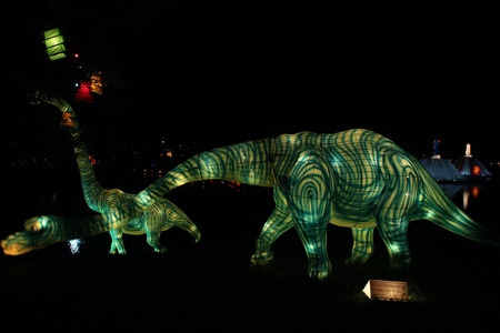 two dinosaur Amazing Lantern @ Hat Yai Songkha Thailand