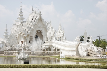 White temple wat Rong Khun in Chiang Rai, Thailand Stock Photo