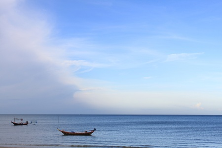 two boat on the sea and blue sky background