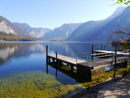 Old pier in Hallstatt Stock Photo