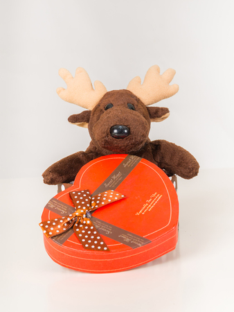 Deer doll and heart-shaped gift box on white background.