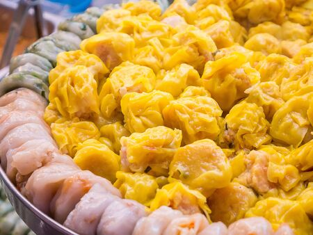Dim Sum hot from steaming Stock Photo