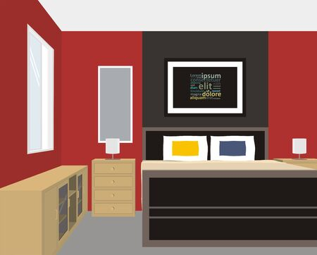 bedroom wall: bedroom with red wall