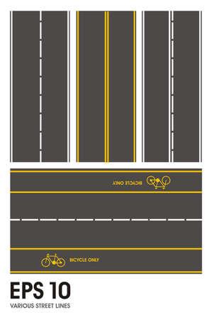 striping: various street lines illustration