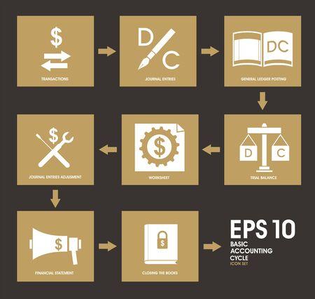 ledger: Basic Accounting Cycle Icon Set Illustration