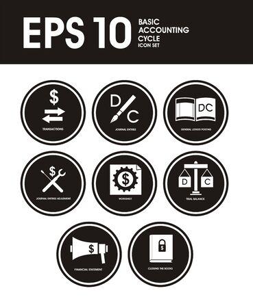Accounting Icons In Black Ilustração