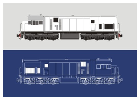 Locomotive in technical drawing style 2 Ilustração