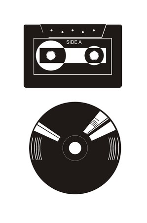 casette in silhouette style Vector