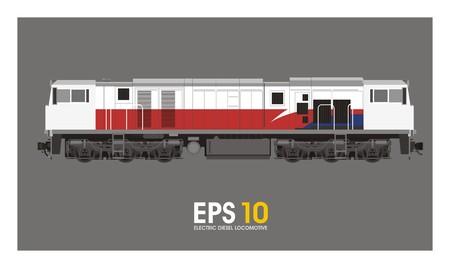 motor coach: electric diesel locomotive illustration
