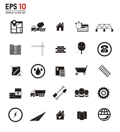 civil engineering: architecture and civil engineering silhouette icons
