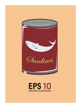 tinned goods: sardines simple illustration Illustration